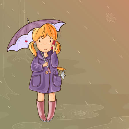 raining:  Girl and her mouse under an umbrella walking in the rain