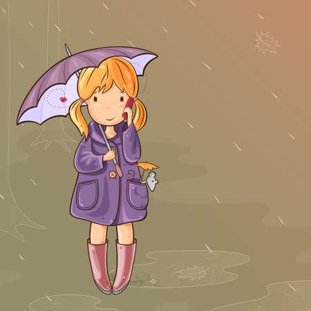 dull: Muchacha y su rat�n bajo un paraguas caminando bajo la lluvia