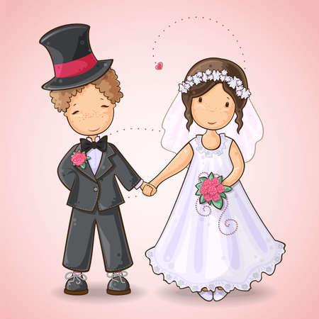net getrouwd: Cartoon illustratie van een jongen en een meisje in trouwjurk