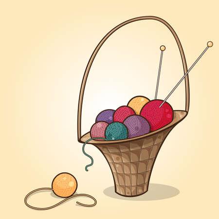 서로 다른 색상의 실을 공 바구니의 만화 그림 일러스트