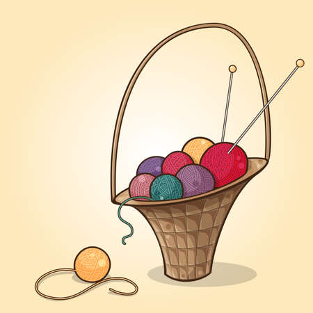 Cartoon illustration of the basket with yarn balls of different colors
