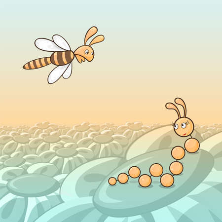 first sight: Cartoon illustration of caterpillar and bee, concept of love at first sight