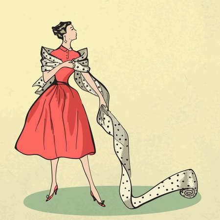 젊은 여자는 직물 복고 스타일에 시도