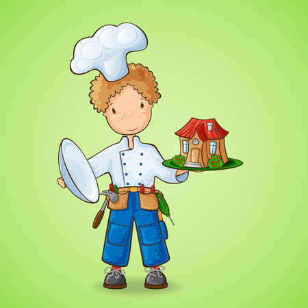 little boy cartoon: Humorous concept  builder as a chef holding a plate with a new house