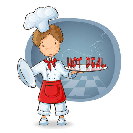 little chef: Cartoon illustration of concept of special offers with chef holding text on the plate