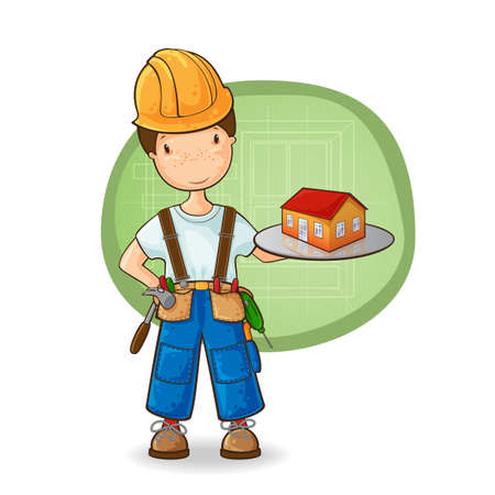 building contractor cartoon: Cartoon illustration of boy-builder holding new house on the plate
