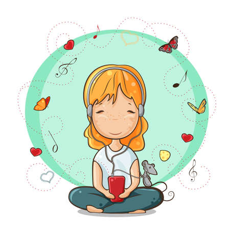 cross legged: Vector illustration of little girl and her mouse listening to music