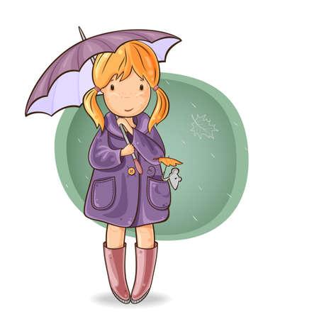 иллюстрировать: Девушка, идущая с ней мышью под зонтиком в дождь осенью