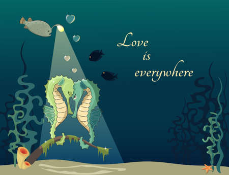 hippocampus: Cartoon illustration of underwater world with fishs and seahorses  Concept of love