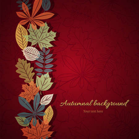 Vertical ornament of autumn leaves on the bright red background  Vector