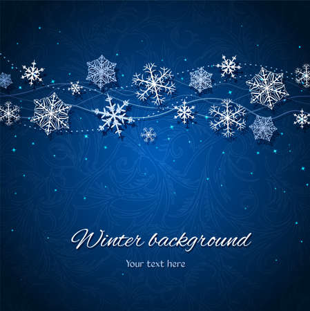 lustre: Ornament with snowflakes and stars on the dark blue background