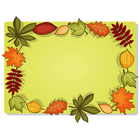 fall leaves border: Rectangular frame for pictures or text with autumn leaves  You can use horizontal or vertical position Illustration