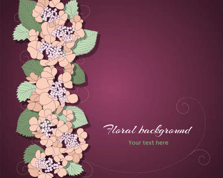 greeting card with pink flowers on the dark background Vector