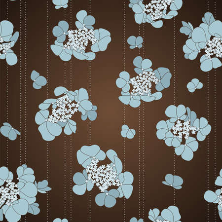 seamless pattern with blue flowers on the brown background  イラスト・ベクター素材