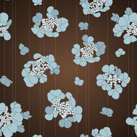 갈색 배경에 파란색 꽃과 원활한 패턴 일러스트