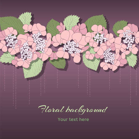 greeting card with horizontal ornament of pink flowers on the dark background