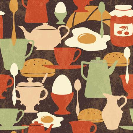 伝統的な料理とドリンク朝食シームレスなパターン