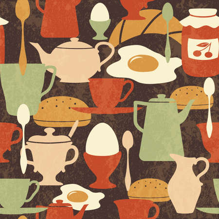 Breakfast seamless pattern with traditional food and drinks Vector