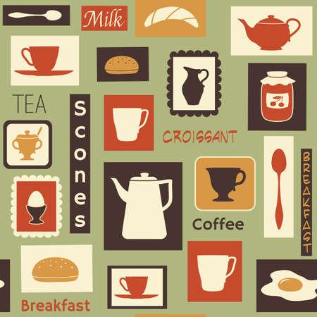 伝統的な食べ物と食器のシームレスなパターン  イラスト・ベクター素材