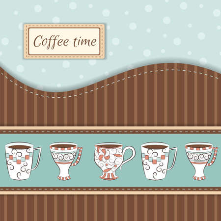 coffee time: Retro greeting card with hand-drawn cups and place for text