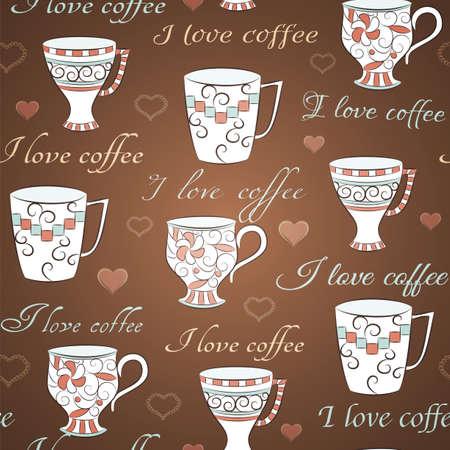 手描きのカップとコーヒーを愛するテキスト茶色のシームレスなパターン  イラスト・ベクター素材