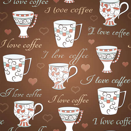 Brown seamless pattern with hand-drawn cups and text I love coffee Vector