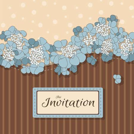茶色の背景に青い花の飾りと招待グリーティング カード