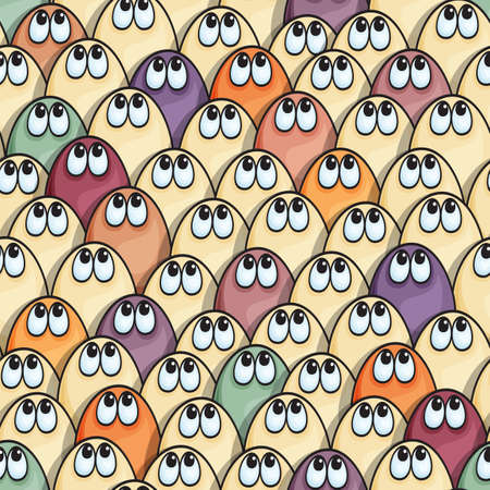 seamless pattern with cute many-colored thoughtful  monsters 矢量图像