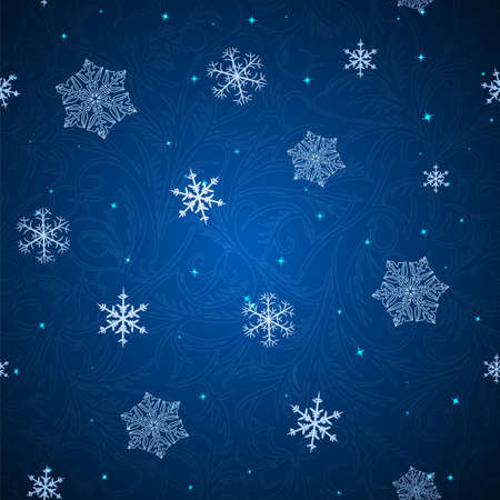 brilliancy: seamless pattern with snowflakes and stars on the dark blue backgrounds
