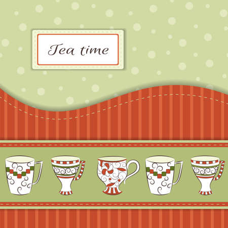 Retro greeting card with hand-drawn cups and text Tea time Vector