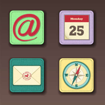 Set of app icons for mobile devices stitched on the textile background Vector