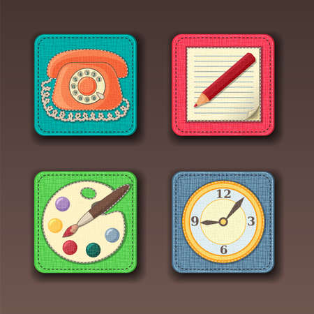 App icons stitched on the textile background in pastel colors 矢量图像