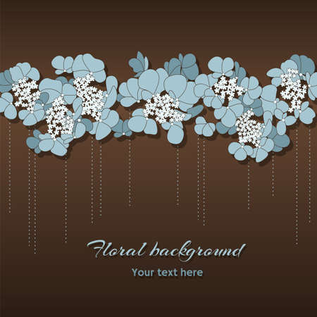 Vector greeting card with horizontal ornament of blue flowers on the brown background Vector