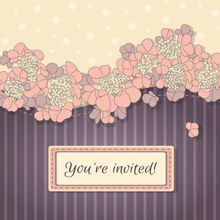 invited: Invitation greeting card with ornament of pink flowers on the violet background