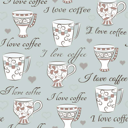 Light seamless pattern with hand-drawn cups and text I love coffee Vector