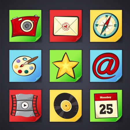Set of app icons with cartoon illustrations on the paper background Vector