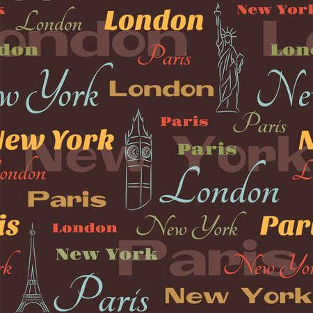 レトロ シームレス都市名ニューヨークで、ロンドンとパリ市のシンボル
