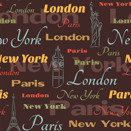Retro seamless with city names New York, London and Paris and  city symbols Vector
