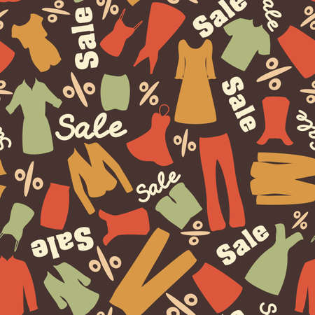 Seamless pattern with man and woman clothes for clearance in retro colors Vector