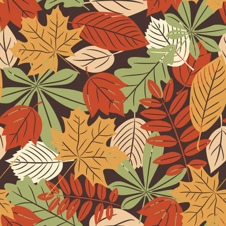 Vector seamless pattern with many-colored autumn leaves in retro style Vector