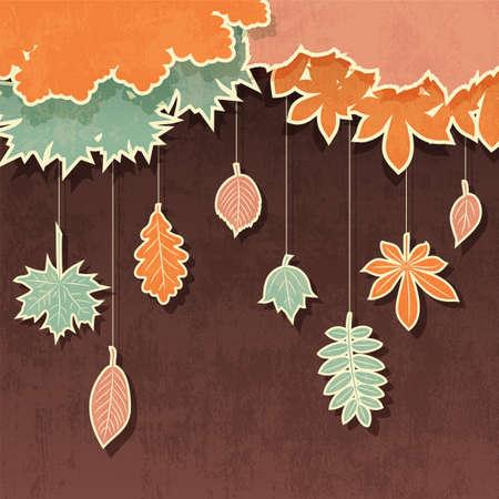 秋のアップリケ付きベクトル レトロな背景を葉します。