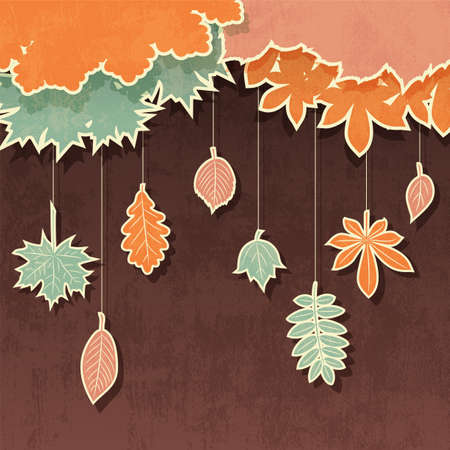 fallen tree: Vector retro background with appliques of autumn leaves Illustration