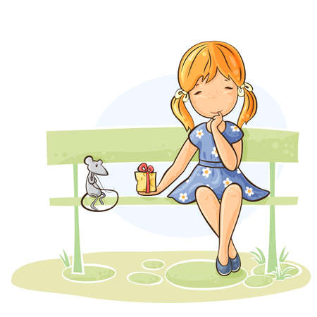 탁상: 여자는 그녀의 마우스에 선물을주는 벤치에 앉아