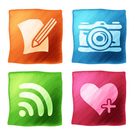 word processor: Set of app icons on the backgrounds in watercolor technique