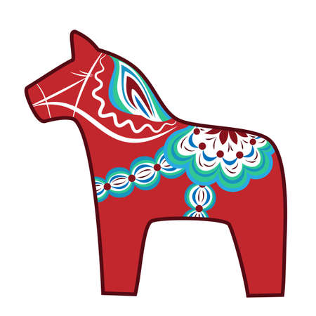 Red wooden horse - national symbol of Sweden Vector