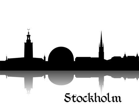 sweden: Black silhouette of Stockholm the capital of Sweden