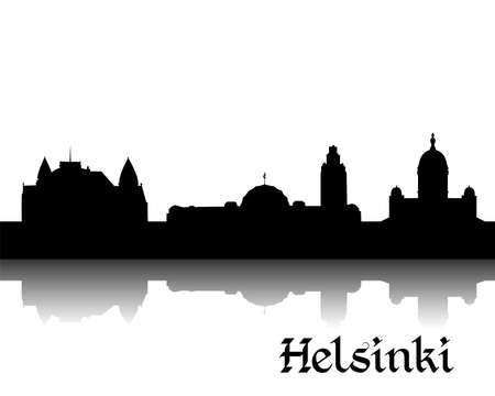 finland: Black silhouette of Helsinki the capital of Finland