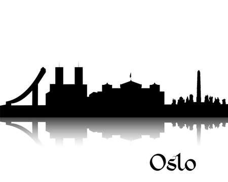 ノルウェーの首都オスロの黒いシルエット  イラスト・ベクター素材