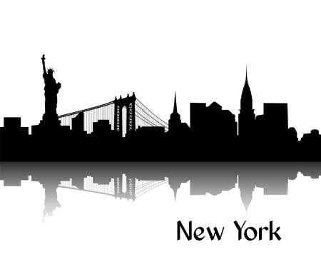 nowy: Czarna sylwetka Nowego Jorku stolicy USA