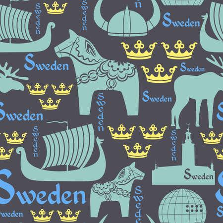 青い背景にスウェーデンの国民記号とのシームレスなパターン